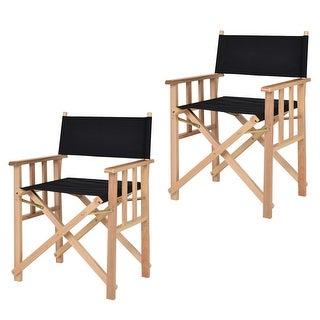 costway set of 2 folding makeup director chairs wood camping fishing black