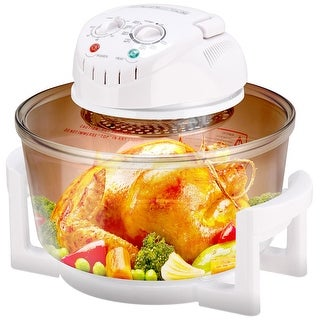 Gymax 12.68-18 Quart 1300W Infrared Halogen Convection Turbo Oven Cooker Glass Bowl