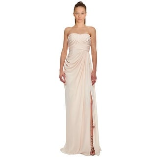 Badgley Mischka Draped Silk High Slit Strapless Evening Gown Dress - 6