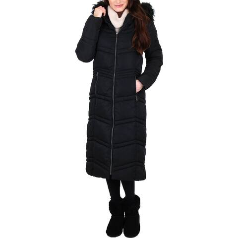 Jessica Simpson Womens Puffer Coat Faux Fur Winter