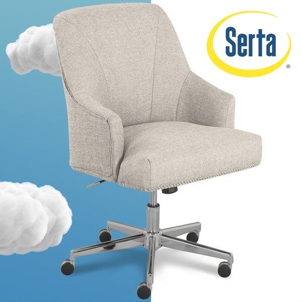 Shop Serta Leighton Light Grey Fabric Home Office Chair Overstock 15924360