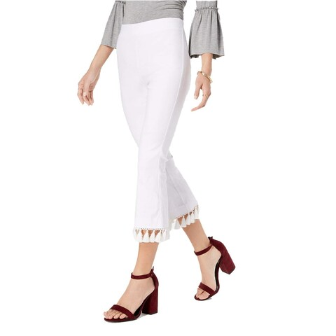 XOXO White Size 12 Junior Tassel-Trimmed Cropped Flare Stretch Pants