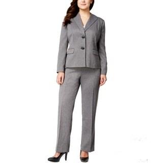 Le Suit NEW Gray Women's Size 24W Plus Notched Seamed Pant Suit Set