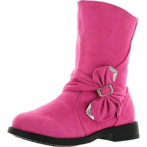 Little Angel Maisy-800D Toddler Girls Faux Suede Buckle Round Toe Boots