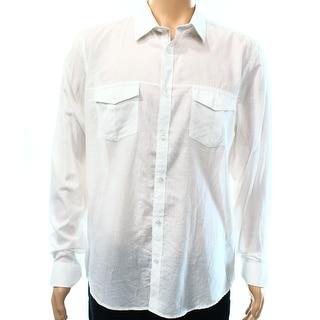 Calvin Klein NEW White Mens Size Large L Pocket Button Down Shirt