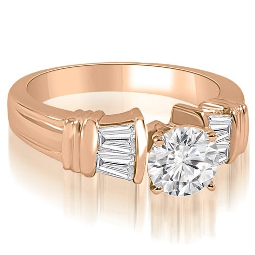 0.80 cttw. 14K Rose Gold Antique Style Round Baguette Diamond Engagement Ring