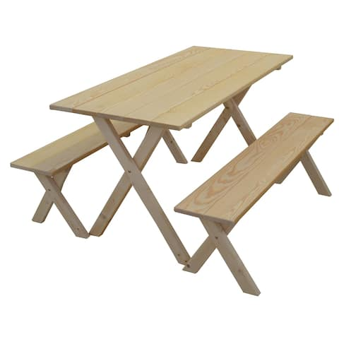 Pine 5' Economy Picnic Table with 2 Benches