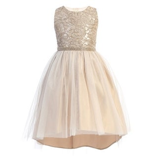Sweet Kids Girls Mocha Embroidered Tulle Overlay Christmas Dress
