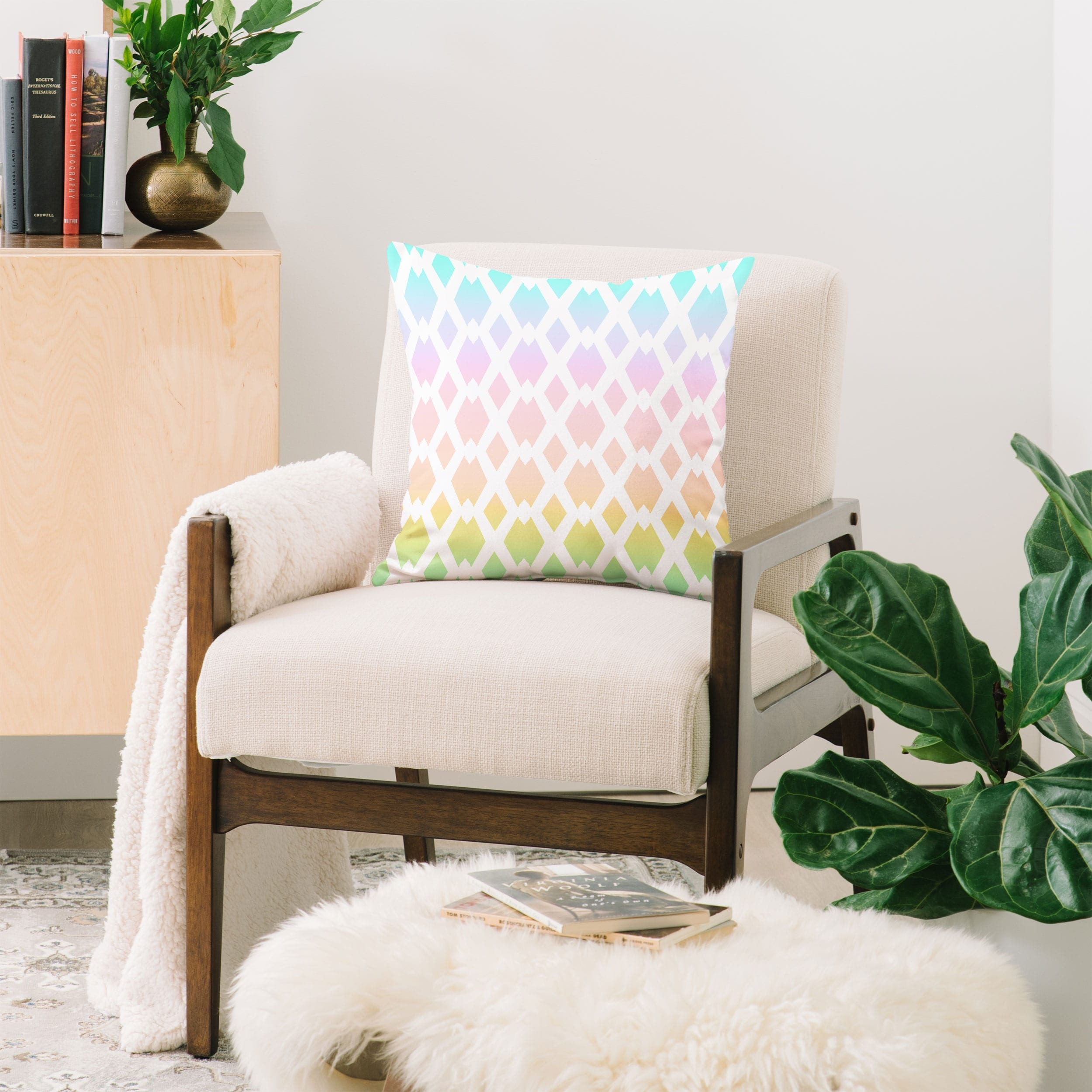Deny Designs Lattice Pastel Rainbow Reversible Throw Pillow 4 Size Options Overstock 29845852