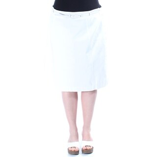 $800 NY COLLECTION New Womens 1475 White Knee Length Pencil Skirt L B+B