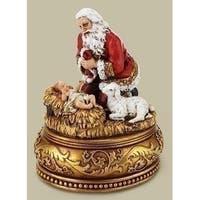 "5.75"" Joseph Studio Musical Kneeling Santa with Baby Jesus on Base Religious Christmas Figure"