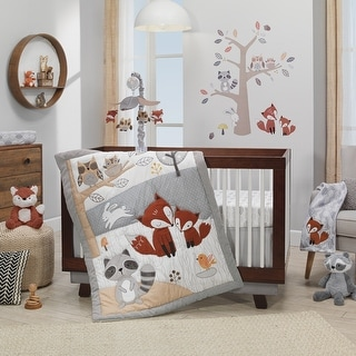 Link to Lambs & Ivy Into the Woods Gray/White Tree Fox Raccoon 4-Piece Crib Bedding Set Similar Items in Bedding Sets