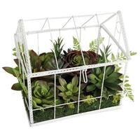 "14.5"" Artificial Succulent Garden in Decorative Greenhouse - Green"