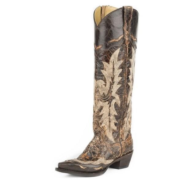 "Stetson Western Boots Women Sadie Goat 18"" Wingtip"