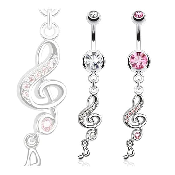 Treble Clef with Paved Gems and Music Note Dangle Navel Belly Button Ring 316L Surgical Steel