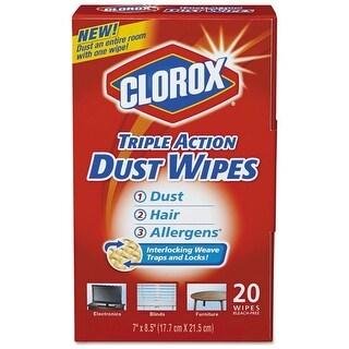"Clorox 31313 Triple Action Dust Wipes, 7"" x 8.5"", 20/Box"
