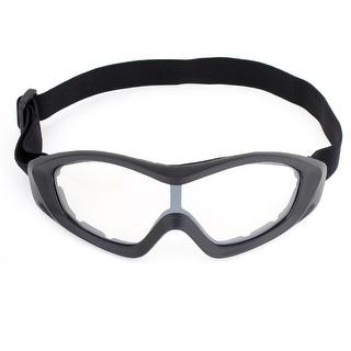 Unique Bargains Unisex Ski Racing Anti Dust Black Full Rim Clear Lens Goggles Glasses