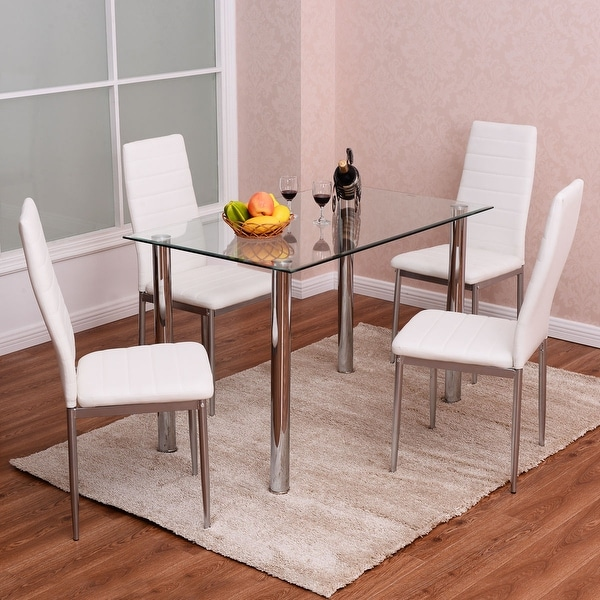 Dining Set For 4: Costway 5 Piece Dining Set Table And 4 Chairs Glass Metal