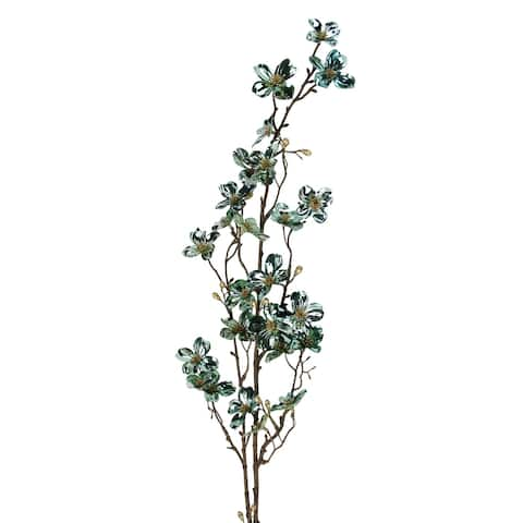 "43"" Green and Gold Metallic Artificial Dogwood Floral Craft Spray"