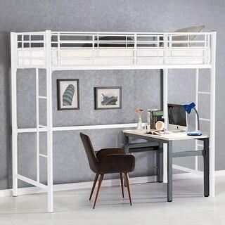 Gymax Twin Loft Bed Metal Bunk Ladder Beds Boys Girls Teens Kids Bedroom Dorm White