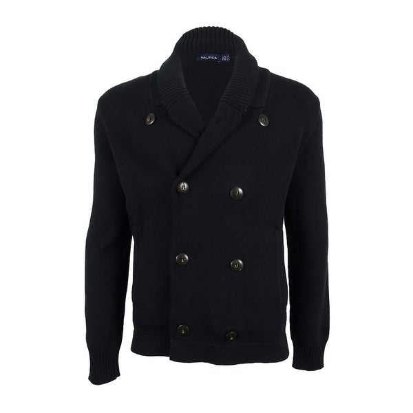 Nautica Men's Double-Breasted Cardigan - True Black - Free ...