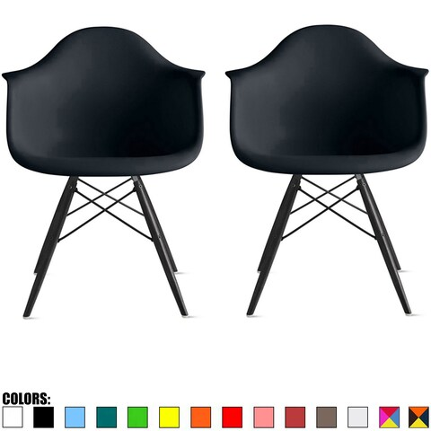2xhome Set of 2 Plastic Chair Accent Chairs Modern Designer Colors Dining Chair With Arms Molded Shell Desk Task Office Work