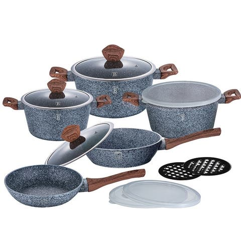 Berlinger Haus 13-Piece Kitchen Cookware Set, Gray Stone Collection