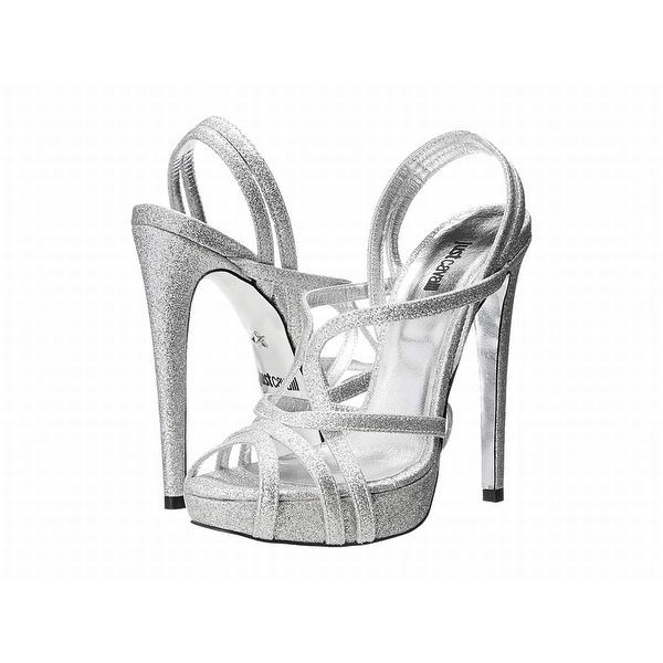 Just Cavalli NEW Silver Shoes 7M Strappy Leather Glitter Heels