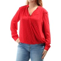 INC Womens Red Rhinestone Sheer Without Cami Cuffed V Neck Faux Wrap Top  Size: 0