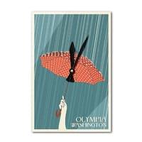 Olympia, WA  - Umbrella - Letterpress - LP Artwork (Acrylic Wall Clock) - acrylic wall clock