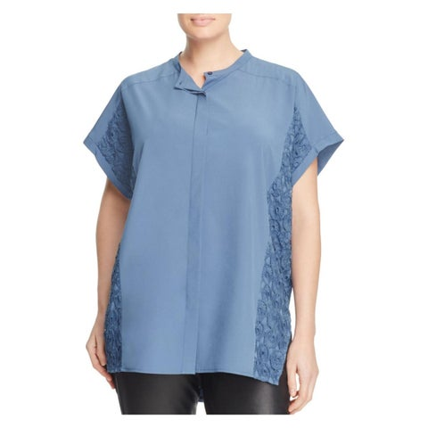 Love Scarlett Womens Plus Tunic Top Button-Down Lace Inset