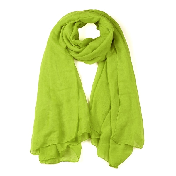 Soft Lightweight Long Scarves With Solid Color Shawl For Women Men Grass Green