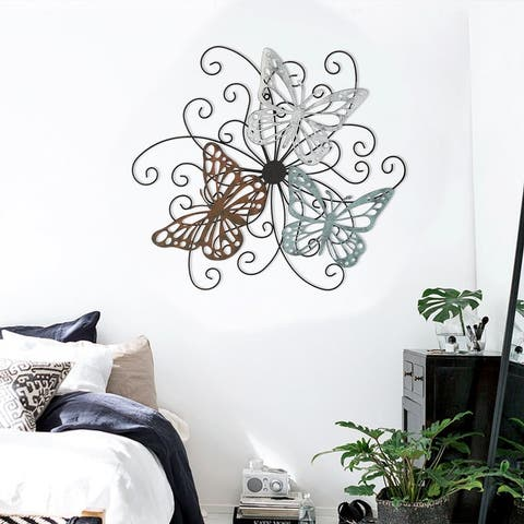 ADECO Home Metal Butterfly Wall Decor Flower Scrolled Urban Design