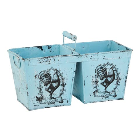 """French Country Distressed Blue Metal Planter with Handle 2 Pots and Rooster Illustrations 23"""" x 11"""" - 23 x 11 x 11"""