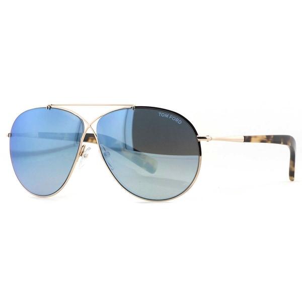Tom Ford Eva TF374 28X Gold Havana Blue Mirror Unisex Aviator Sunglasses - gold/havana - 61mm-10mm-140mm