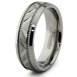 6.5mm Diamond Cut Titanium Ring (Sizes 7-12)