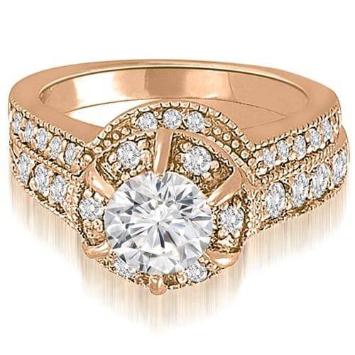 1.80 cttw. 14K Rose Gold Antique Style Halo Round Diamond Bridal Set