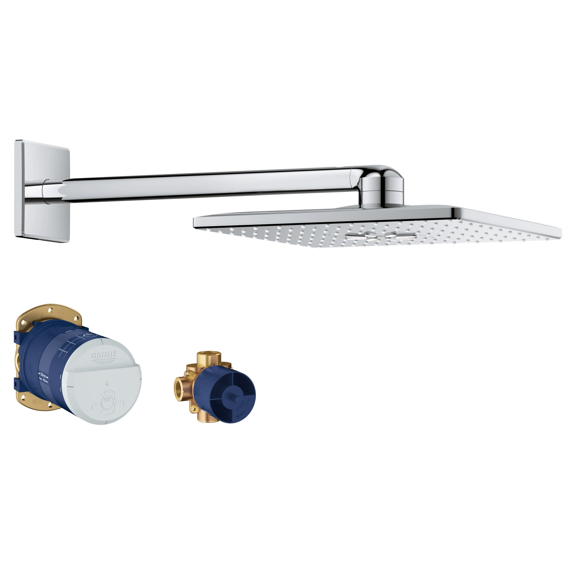 Grohe 26 504 Rainshower 1 75 Gpm Multi Function Square Shower Head With Shower Arm Flange And Rough In Set Starlight Chrome