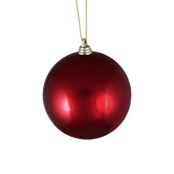 "Satin Burgundy Shatterproof Christmas Ball Ornament 4"" (100mm)"