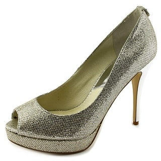 Michael Michael Kors York Platform Women  Open Toe Canvas Silver Platform Heel
