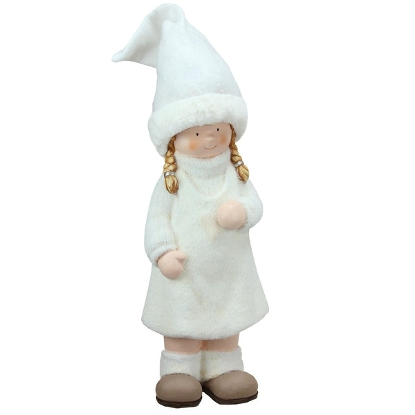 "19"" Winter Girl in White with Tall Hat Christmas Table Top Figure"