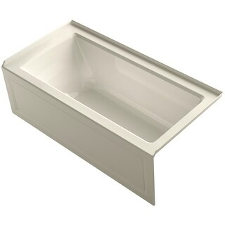 "Kohler K-1947-GRA Archer 60"" Three Wall Alcove BubbleMassage Air Bath Tub - Right Drain - White"