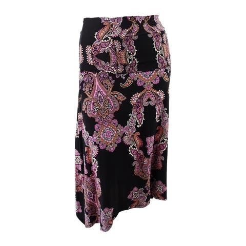 INC International Concepts Women's Convertible Asymmetrical Skirt - Paisley River - XL