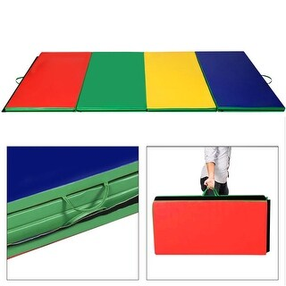 "4'x10'x2"" Gymnastics Mat Folding Panel Thick Gym Fitness Exercise Multicolor - multi-color"
