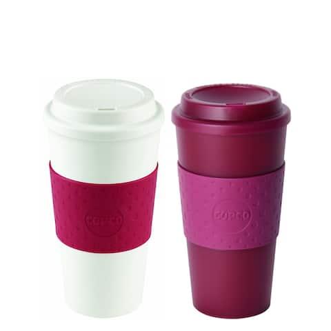 Copco Acadia Slim Coffee Travel Mug Set 16 Oz - Translucent Marsala Red Cherry Red - Translucent Marsala Red Cherry Red
