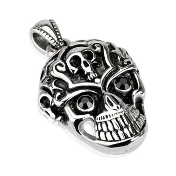 Grinning Skull with Black CZ Eyes Stainless Steel Pendant (30 mm Width)