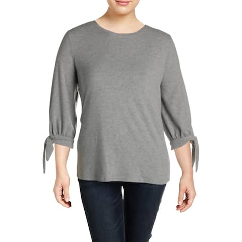 Vince Camuto Womens Sweater Solid Tie-Cuff - Light Heather Grey