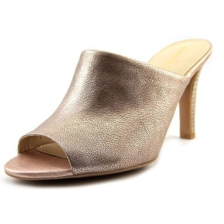 Franco Sarto Quala Women Peep-Toe Leather Gold Mules