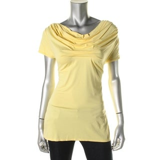 Studio M Womens Pleated Cowl Neck Pullover Top