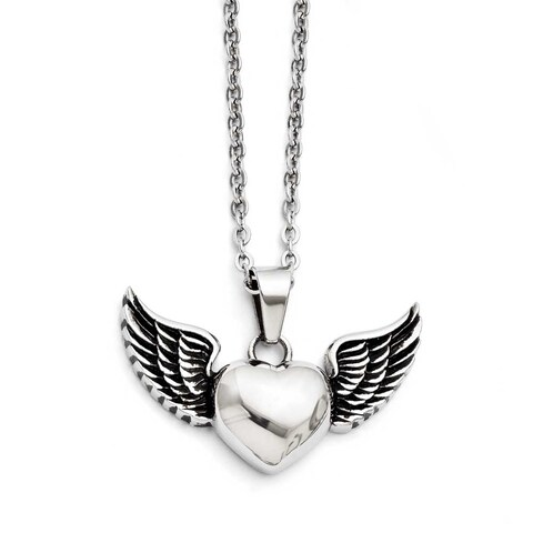 Chisel Stainless Steel Antiqued and Polished Heart with Wings Necklace (2 mm) - 29 in